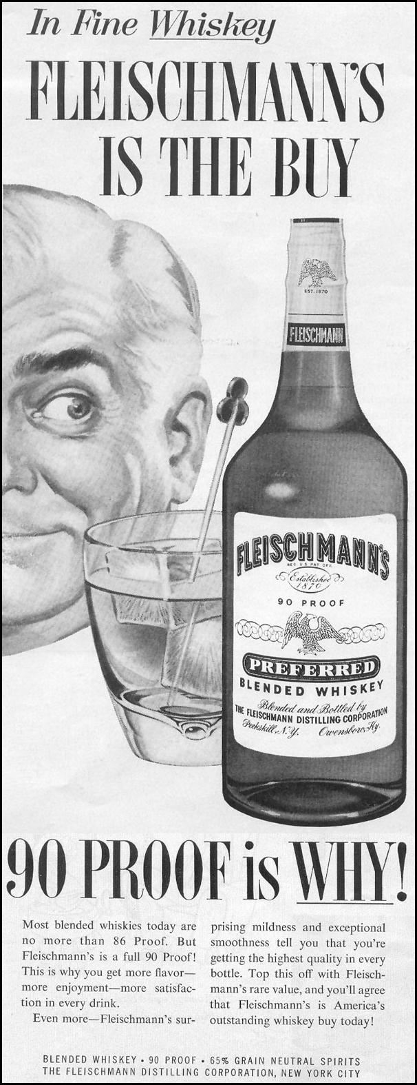 FLEISCHMANN'S PREFERRED BLENDED WHISKEY LOOK 09/16/1958 p. 60