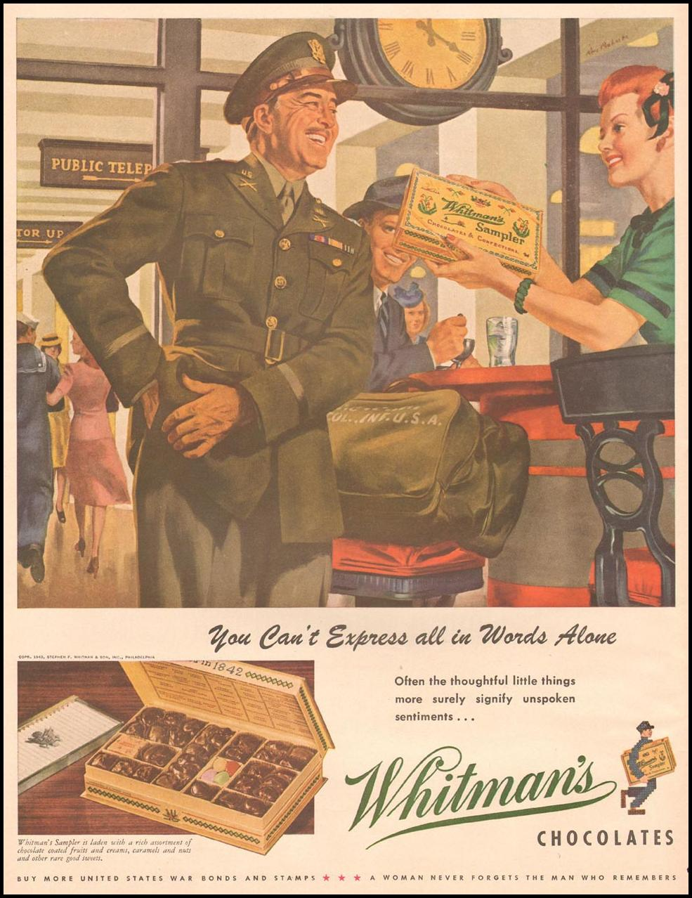 WHITMAN'S CHOCOLATES LIFE 10/11/1943 p. 92