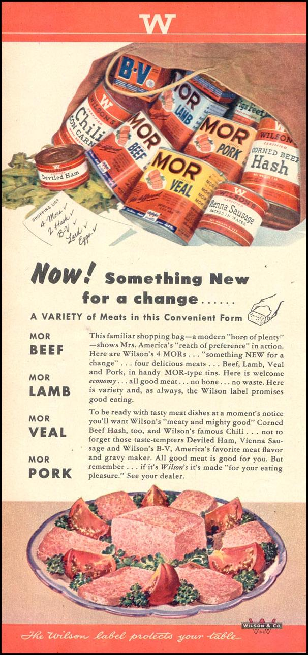 WILSON'S CANNED MEATS WOMAN'S DAY 10/01/1948 p. 68