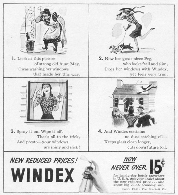 WINDEX WINDOW CLEANER WOMAN'S DAY 05/01/1941 p. 56