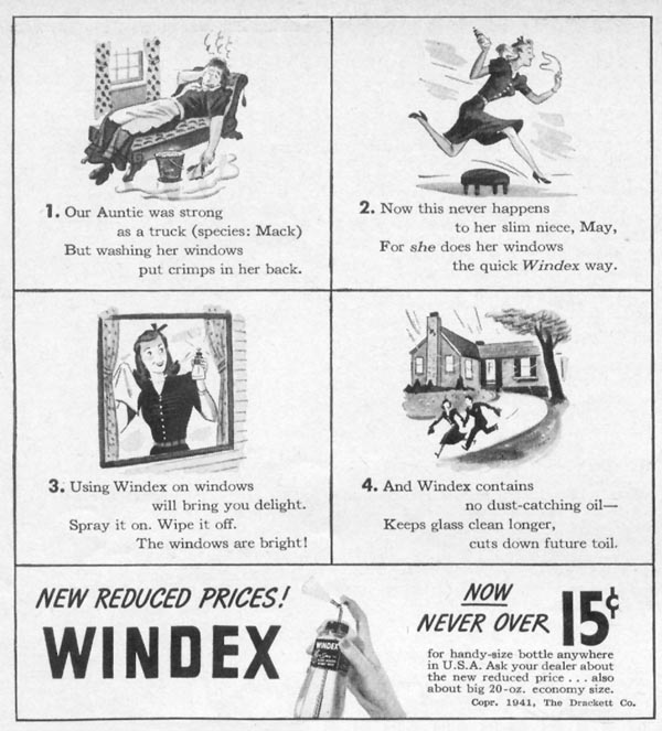 WINDEX WINDOW CLEANER WOMAN'S DAY 06/01/1941 p. 50