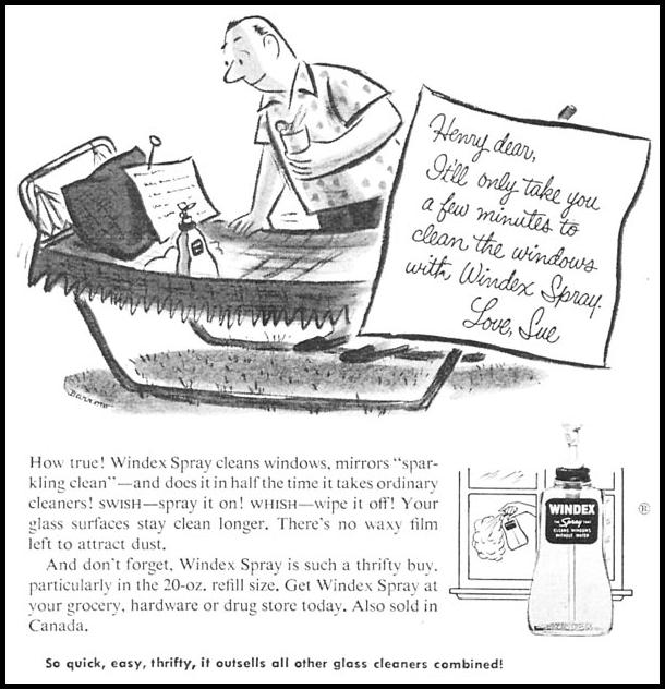 WINDEX SPRAY WOMAN'S DAY 09/01/1955 p. 70