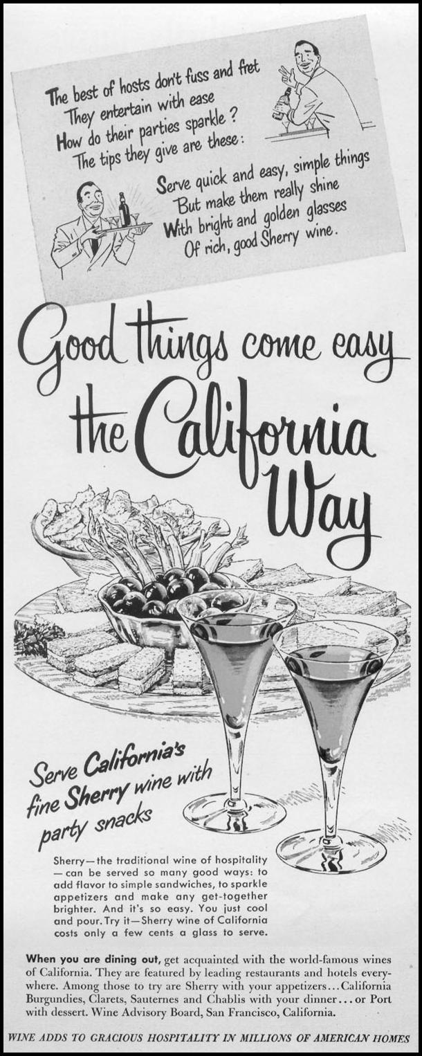 CALIFORNIA WINES LIFE 01/21/1952 p. 46