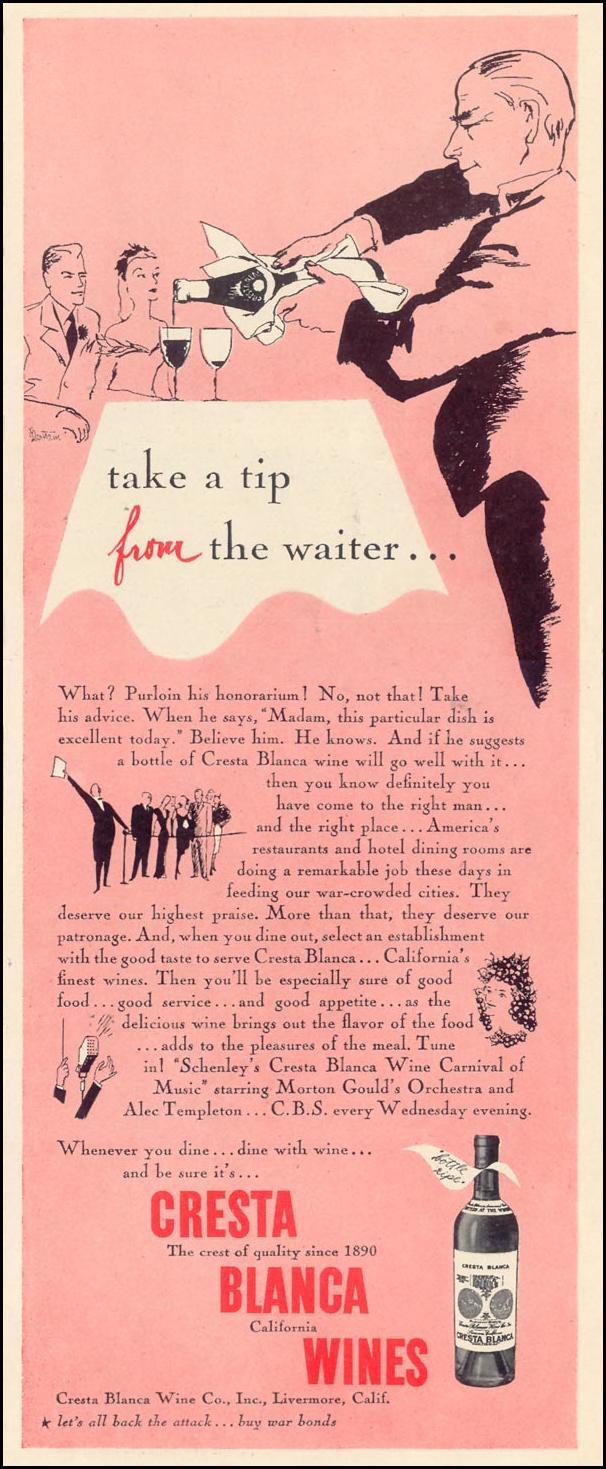 CRESTA BLANCA WINES LIFE 02/28/1944 p. 115