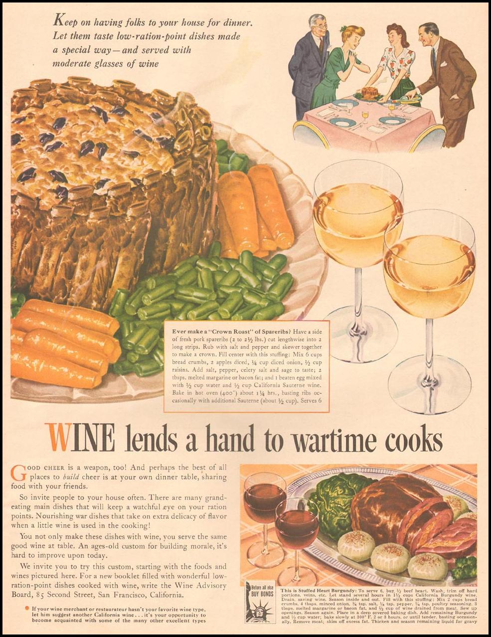 CALIFORNIA WINES LIFE 10/11/1943 p. 92