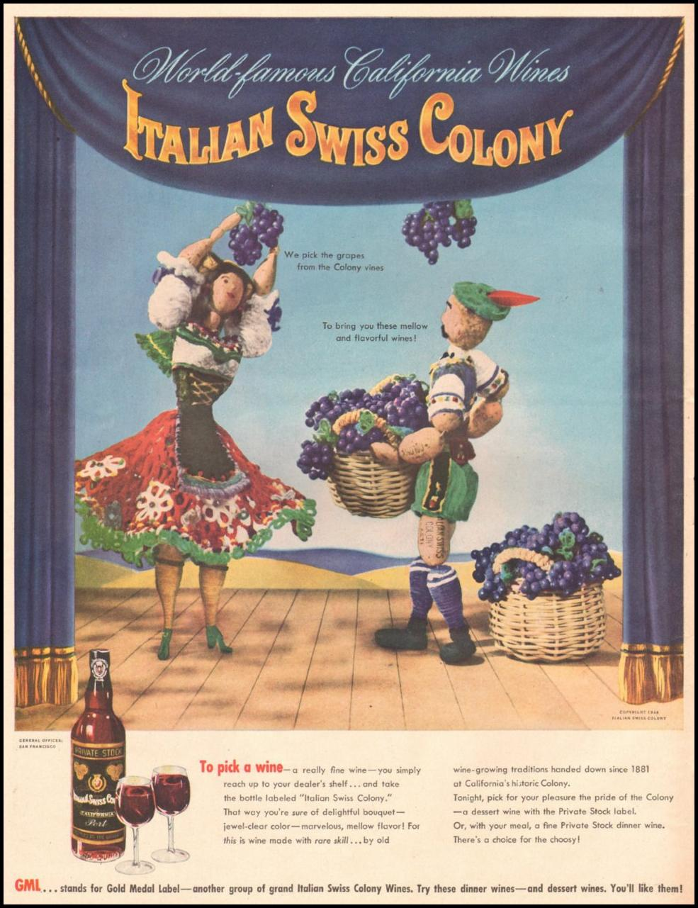 ITALIAN SWISS COLONY WINES LIFE 11/25/1946