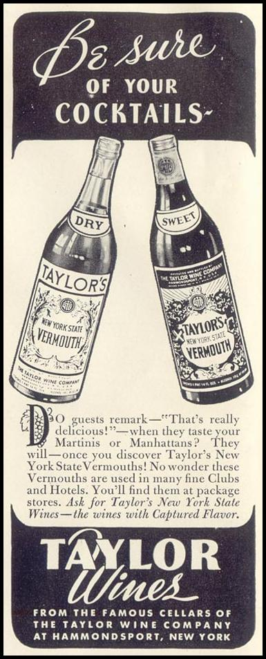 TAYLOR'S NEW YORK STATE VERMOUTHS LIFE 11/30/1942 p. 22