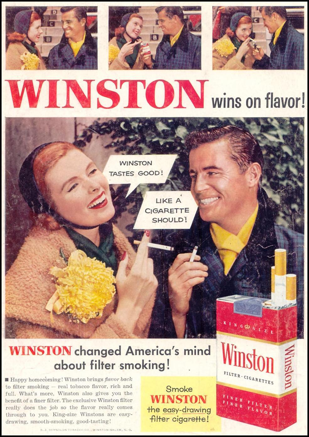 WINSTON CIGARETTES WOMAN'S DAY 11/01/1955 BACK COVER