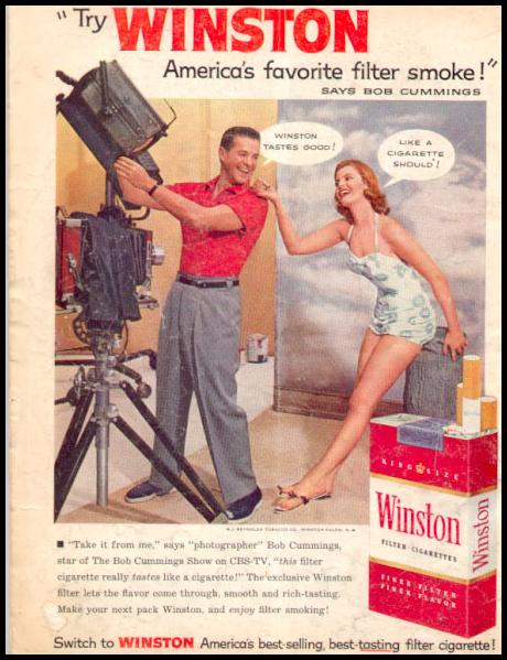 WINSTON CIGARETTES PHOTOPLAY 08/01/1956 BACK COVER