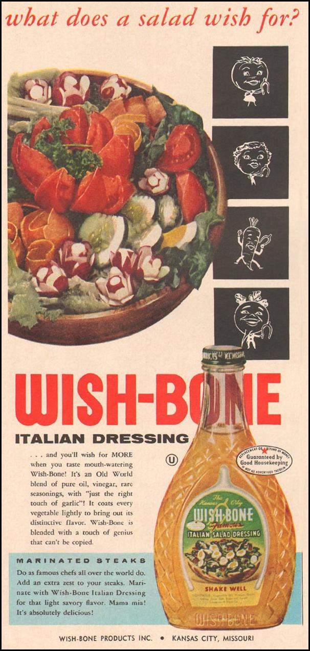 WISH-BONE ITALIAN DRESSING GOOD HOUSEKEEPING 05/01/1957 p. 25