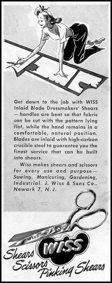 WISS SHEARS AND SCISSORS SATURDAY EVENING POST 10/06/1945 p. 102