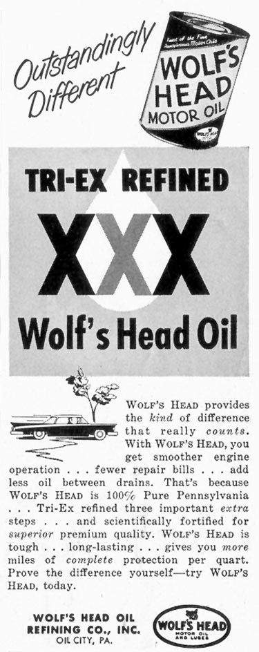 WOLF'S HEAD MOTOR OIL SATURDAY EVENING POST 08/15/1959 p. 95