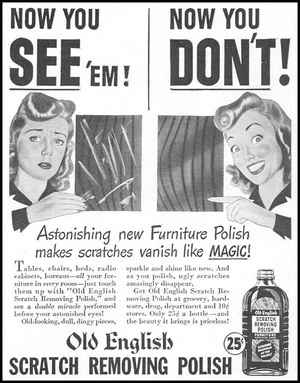 OLD ENGLISH SCRATCH REMOVING POLISH WOMAN'S DAY 04/01/1943 p. 73