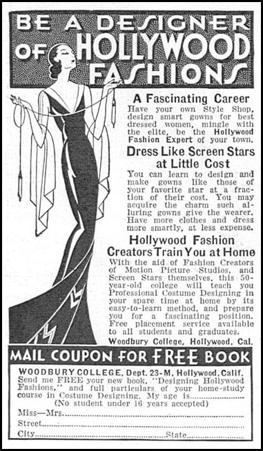 FASHION DESIGN HOME-STUDY COURSE GOOD HOUSEKEEPING 12/01/1934 p. 192