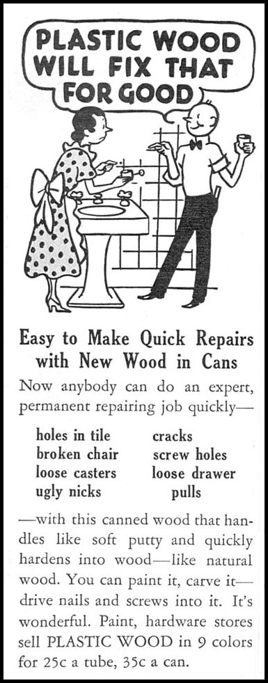 PLASTIC WOOD GOOD HOUSEKEEPING 12/01/1934 p. 196