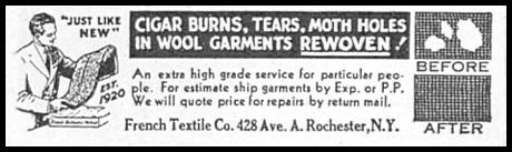 WOOL GARMENT REPAIR GOOD HOUSEKEEPING 12/01/1933 p. 179