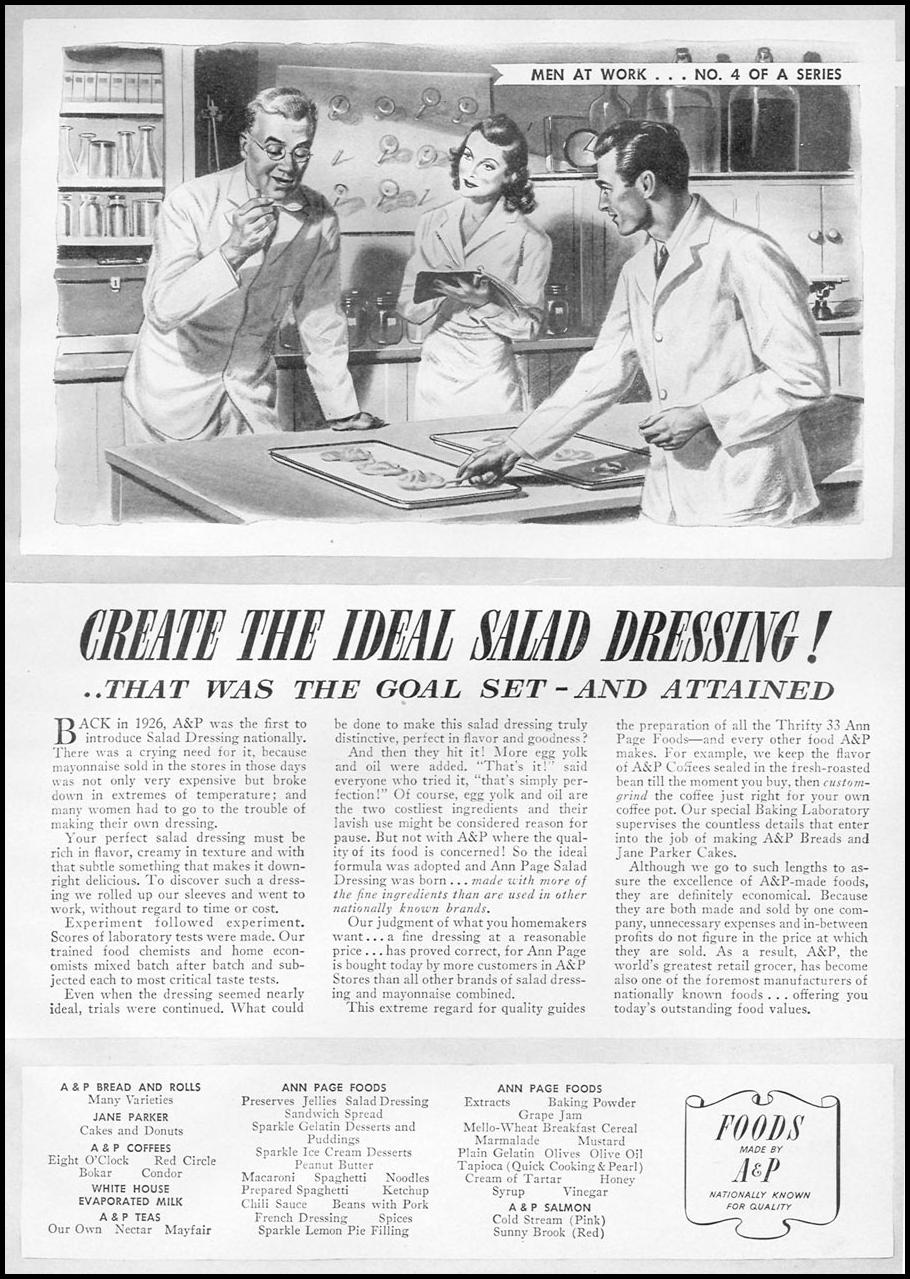 A & P ANN PAGE SALAD DRESSING WOMAN'S DAY 05/01/1941 p. 51