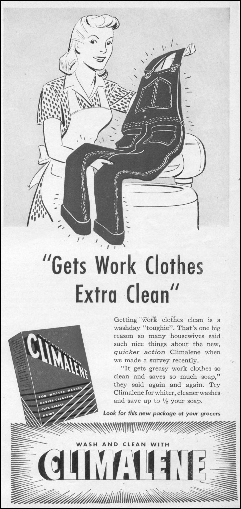 CLIMALENE DETERGENT WOMAN'S DAY 05/01/1947 p. 119