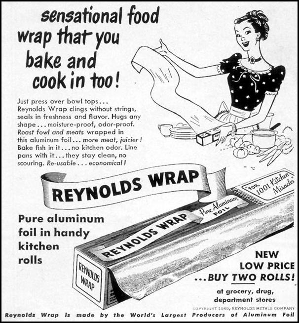 REYNOLDS WRAP ALUMINUM FOIL WOMAN'S DAY 05/01/1950 p. 142