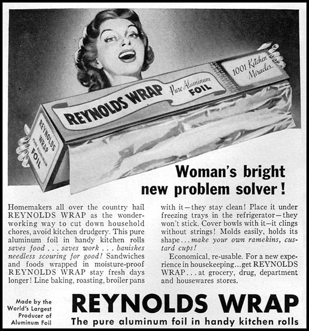 REYNOLDS WRAP ALUMINUM FOIL WOMAN'S DAY 06/01/1950 p. 88