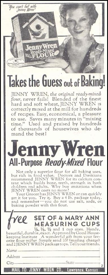 JENNY WREN ALL-PURPOSE READY-MIXED FLOUR GOOD HOUSEKEEPING 11/01/1933 p. 210