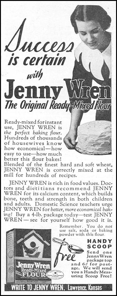 JENNY WREN READY-MIXED FLOUR GOOD HOUSEKEEPING 12/01/1933 p. 178