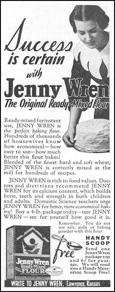 JENNY WREN READY-MIXED FLOUR GOOD HOUSEKEEPING 12/01/1933 p. 178