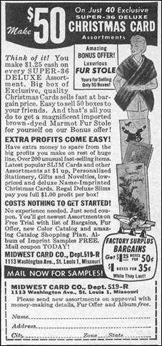 CHRISTMAS CARD SALES PHOTOPLAY 08/01/1956 p. 107