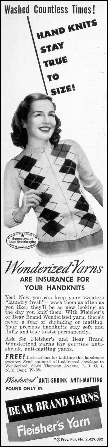 BEAR BRAND YARNS WOMAN'S DAY 09/01/1948 p. 14