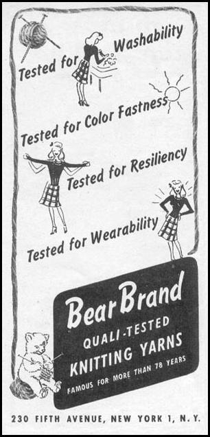 BEAR BRAND YARNS WOMAN'S DAY 11/01/1945 p. 118