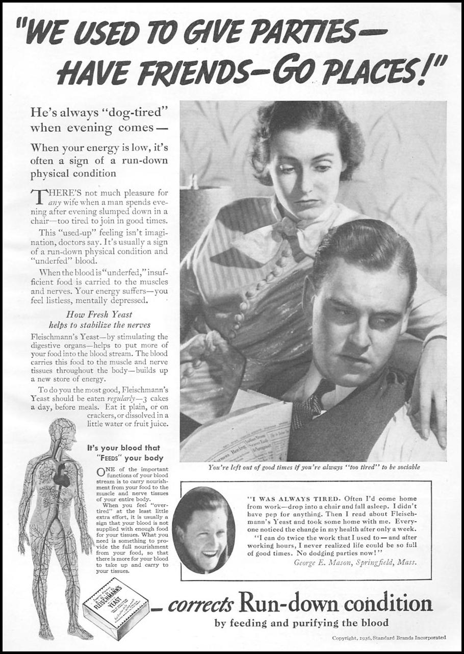 FLEISCHMANN'S YEAST GOOD HOUSEKEEPING 04/01/1936 p. 185