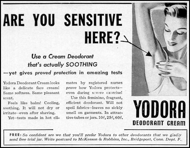 YODORA CREAM DEODORANT WOMAN'S DAY 07/01/1940 p. 54
