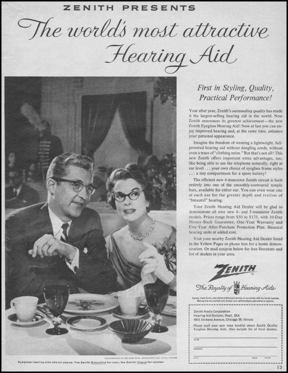 ZENITH HEARING AIDS LOOK 10/29/1957 p. 13