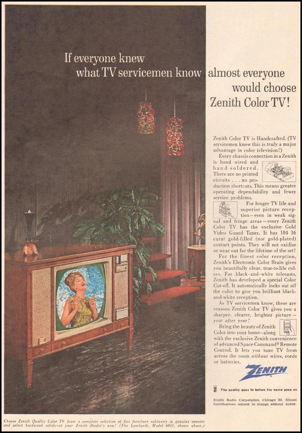 ZENITH COLOR TELEVISIONS TIME 02/08/1963 p. 29