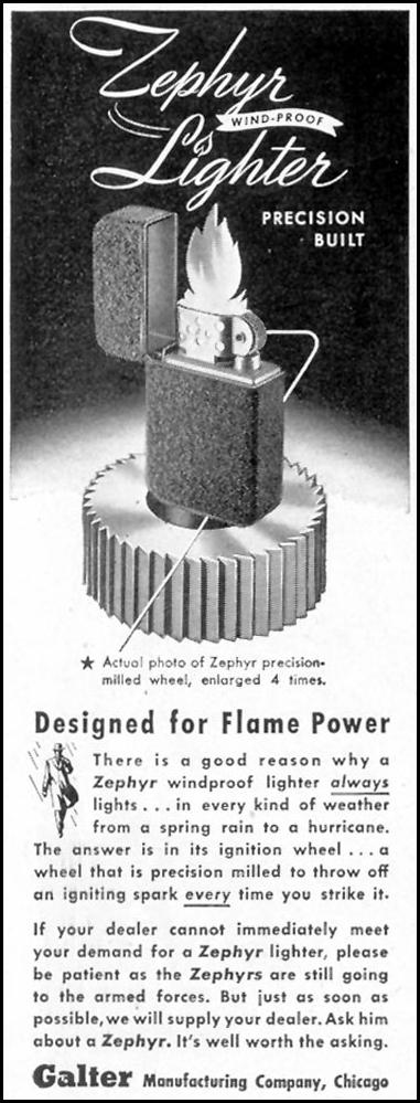 ZEPHYR WIND-PROOF LIGHTER SATURDAY EVENING POST 10/06/1945 p. 91