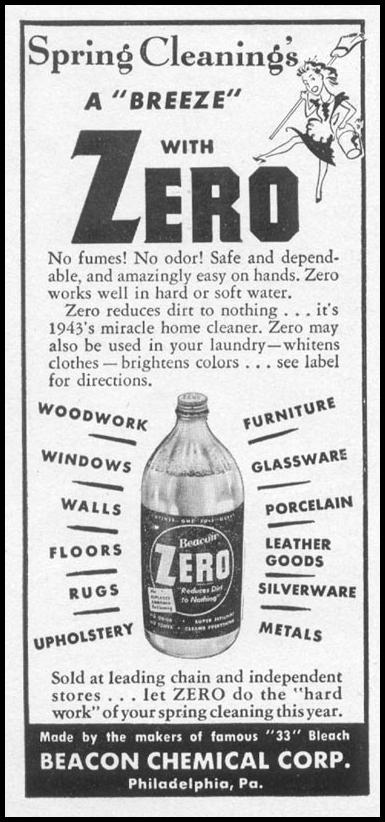 ZERO HOUSEHOLD CLEANSER WOMAN'S DAY 05/01/1943 p. 60