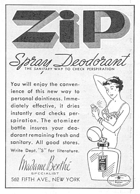ZIP SPRAY DEODORANT GOOD HOUSEKEEPING 06/01/1935 p. 216