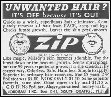ZIP EPILATOR LADIES' HOME JOURNAL 03/01/1954 p. 169