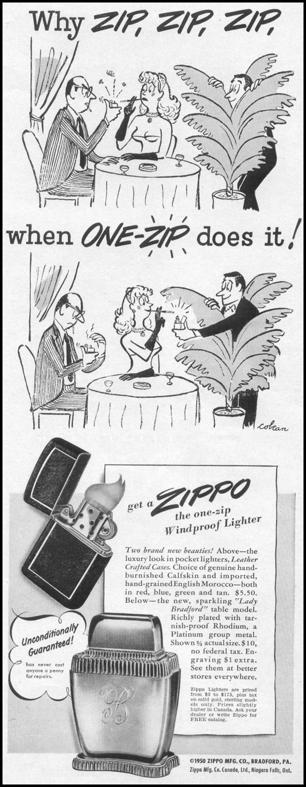 ZIPPO WINDPROOF LIGHTERS LIFE 06/05/1950 p. 85