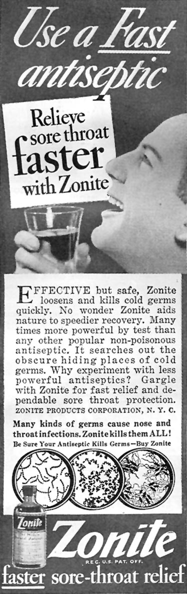 ZONITE ANTISEPTIC GOOD HOUSEKEEPING 04/01/1936 p. 243