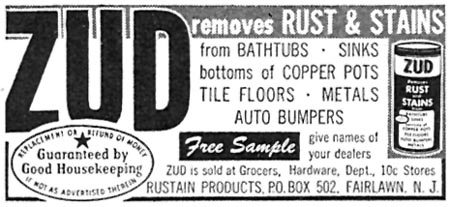 ZUD RUST & STAIN REMOVER FAMILY CIRCLE 02/01/1957 p. 84