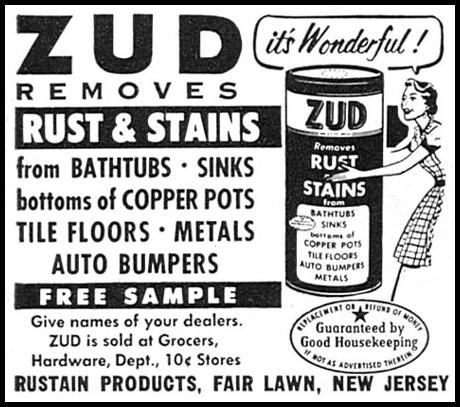 ZUD RUST AND STAIN REMOVER WOMAN'S DAY 06/01/1958 p. 96