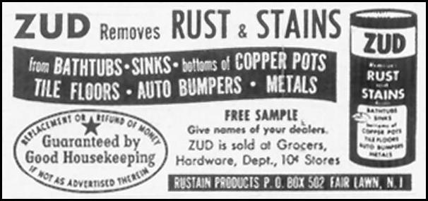 ZUD RUST AND STAIN REMOVER SATURDAY EVENING POST 10/29/1955 p. 128